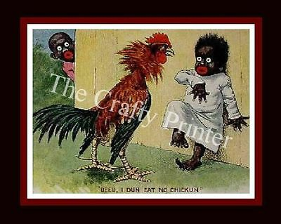 Black Americana PRINT Vintage Reproduction -  Girl & Rooster  - 8x10