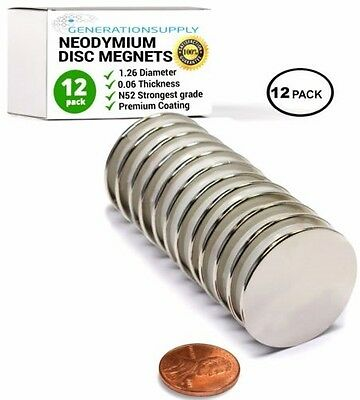 Pack of 12 - Super Strong Neodymium Round Disc Craft N52 Rare Earth Magnets