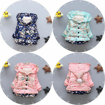 Newborn Cute Baby Girls Floral Winter Autumn Warm Hooded Coat Cotton Outerwear