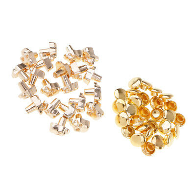 20x Metal Skull Shape Stud Rivets Spikes for Leathercraft DIY Gold 7mm