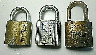 Lot of Yale Locks Collectible No Keys Vintage Antique Brass Metal Open Lock