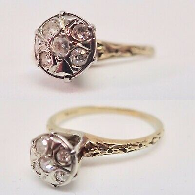 Diamond Cluster Ring, Art Deco Diamond Ring 14k gold ring size 6.25 Cathedral