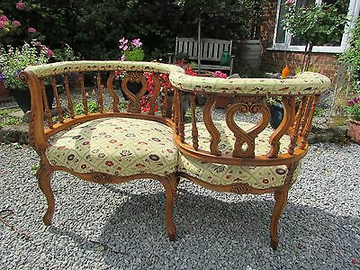 """Antique Love Seat. Bought in Spain~Olive Wood?~44""""X22""""X281/2"""" View at YO51 9BZ"""