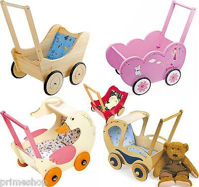 Doll pram of wood Baby walker Selection New