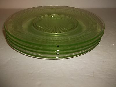 Vintage Hocking Roulette Green Depression Glass Luncheon Lunch Salad Plates