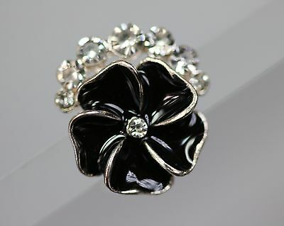 / Beautiful smaller Rhinestone button - black Flower - probably off 2010