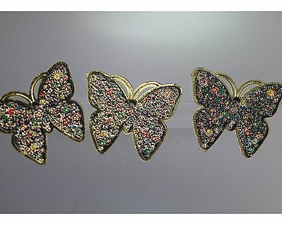 / Beautiful Decorative button Trio - colorful Butterfly - (probably off 2010)