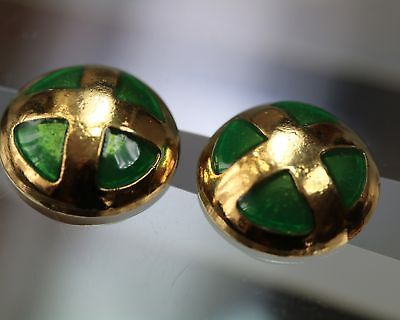 / Attractive Vintage button Duo - gold/green -  probably to 1960/70