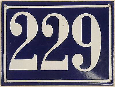 Large old French house number 229 door gate plate plaque enamel steel metal sign