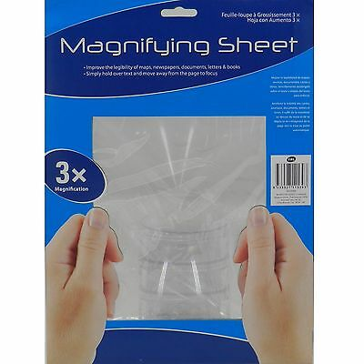 Large A4 3x Magnifying Sheet Multi Purpose Usage Maps Newspapers Book Elderley