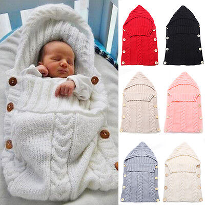 UK Newborn Baby Infant Cable Knitted Blanket Swaddle Wrap Swaddling Sleeping Bag