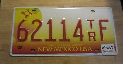 2009 New Mexico Hot Air Balloon License Plate Expired 62114 Tr F