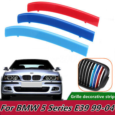 3X Tricolor Plastic Front Center Grille Cover Trim For BMW 5 Series E39 99-04