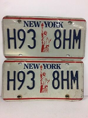 """New York 1986-2000 """"Statue of Liberty"""" License Plate Pair H93 8HM"""