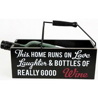 24Cm Worded Wine Bottle Holder Home Decor Handle Quote 24Cm Wooden Gift New