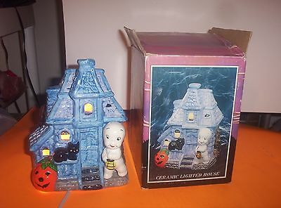 "Rare 1987 United Silver & Cutlery Co. Casper 7"" Lighted Haunted House-New-Mint"