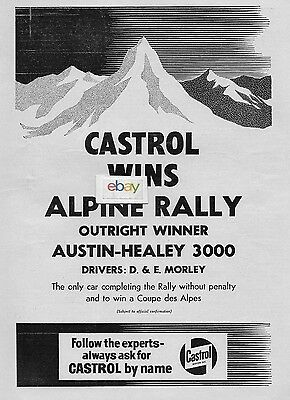 Castrol Oil Company 1961 Austin Healey 300 Wins Apline Rally Coupe Des Alpes Ad