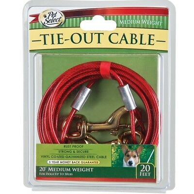 6.1m 20ft Dog Pet Tie Out Cable Metal Vinyl Collar Lead Leash Puppy Wire Clasp