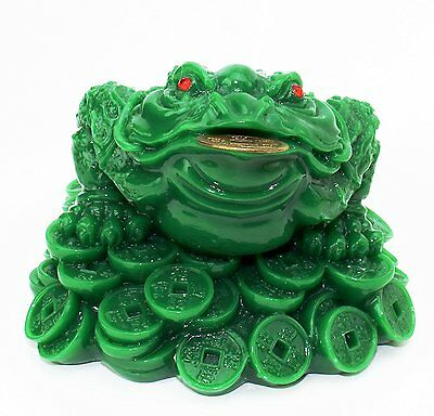 """Feng Shui 3"""" Tall Green Money Frog Coin Toad Chan Chu Chinese Charm US Seller"""