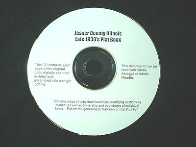 CD ~ Late '30's Jasper County Illinois Plat Map Atlas