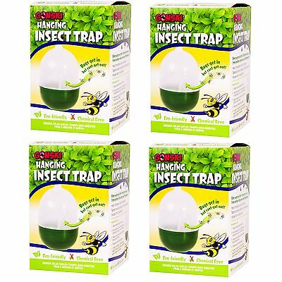 4 x Chemical Free Hanging Insect Fly Wasp Bug Mosquito Trap Killer Garden
