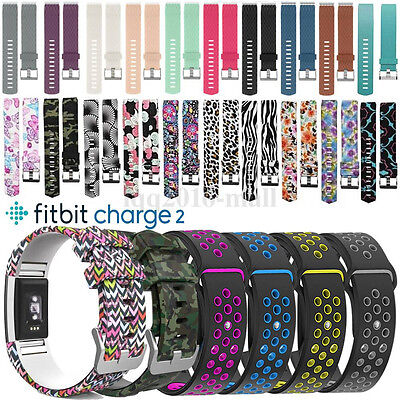 Sports Strap Replace Silicone Band Metal Buckle Wristband For Fitbit Charge 2