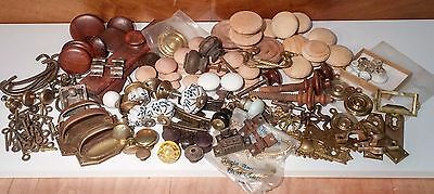 115 Piece Lot Of Vintage, Antique & New Drawer Pulls, Back Plates, Covers & More