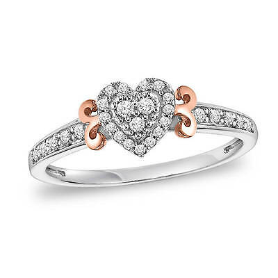 Cambridge 1/5ct TDW Sterling Silver Diamond Heart Promise Ring