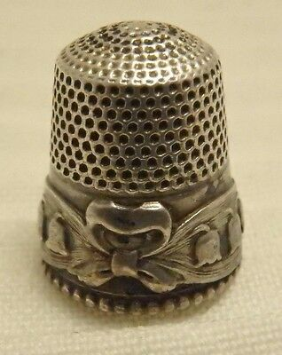 Lily Of The Valley Thimble Sterling Silver Size 7 Engraved Bertha 5.12 Grams