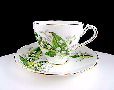 """Adderley England Porcelain Lily Of The Valley 2 3/4"""" Cup & Saucer Set"""
