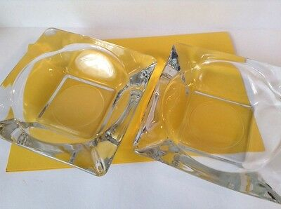 """Anchor Hocking Marked 4"""" Square Clear Glass Stackable Ashtrays Lot Of 2"""