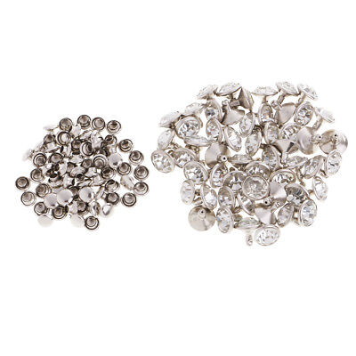 50pcs Rhinestone Rivets Studs Buttons for Bag Clothes Decoration Silver 7mm
