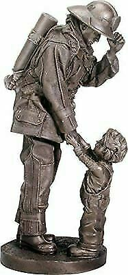 "Ebros Gift Fireman Fire Fighter with Child Decorative Figurine 11.75"" Tall Resin"