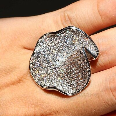 BOHO New White Sapphire 925 Silver Filled Wedding Band Heart Ring Jewelry Gift