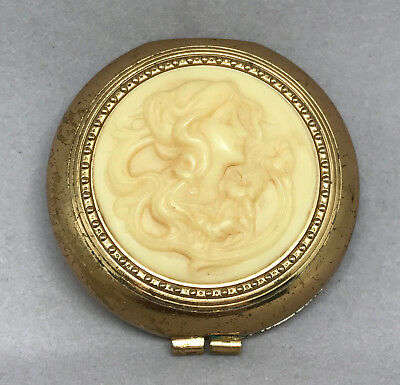 Ladies Pressed Powder Compact 2in Raised Carved Cameo Lady Puff signed R c1950s