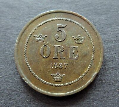 1887 Sweden 5 Ore Coin, Circulated Condition, Lot #452