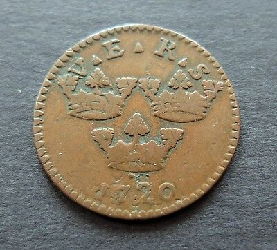 1720 Sweden 1 Ore Coin, Circulated Condition, Lot #453