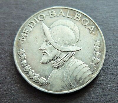 1930 Silver Panama 1/2 Balboa Coin, Circulated Condition, Lot#457