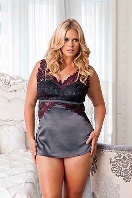 Sexy Lace Overlay Satin Chemise Nightgown Dress Camisole Adult Women Plus Size