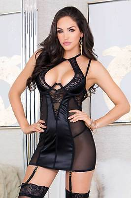 Sexy New Halter Lace Paneled Wired Satin Mash Adult Women Lingerie Chemise Set