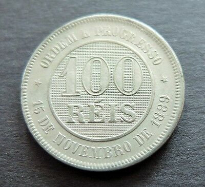 1889 Brazil 100 Reis Coin, Circulated Condition, Lot#462