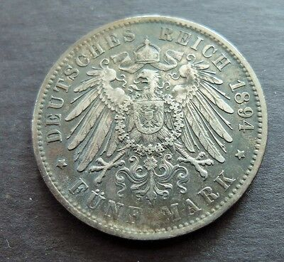 1894D Silver German States Bavaria 5 Mark Coin, Circulated Condition, Lot#467