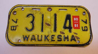 Vintage Wisconsin 1978-79 Waukesha Bicycle License Plate