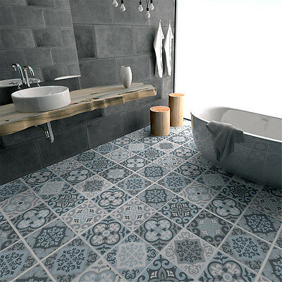 Grey Mosaic Tile Floor Stickers Transfers Kitchen Bathroom Home Decal 60*120cm
