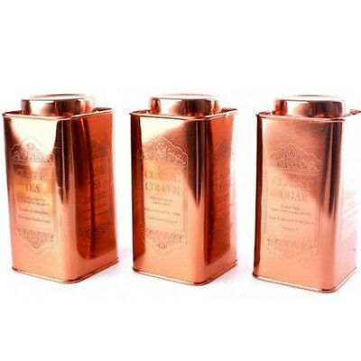 Copper Canisters Sugar Coffee Tea Kitchen Storage 20Cm Cans Containers Modern