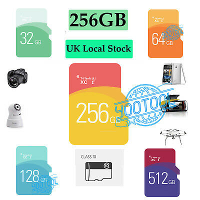 Micro SD / TF Card TF Flash Memory SDHC  SDXC - 256GB Class 10 - With Adapter UK