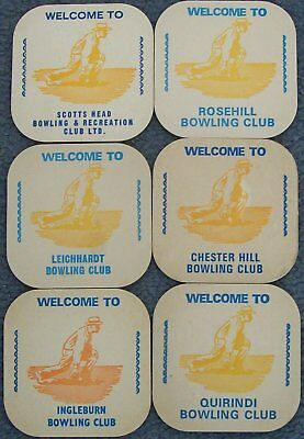 Collectable beer coasters from 1970's - 6 x Bowling Clubs - all different