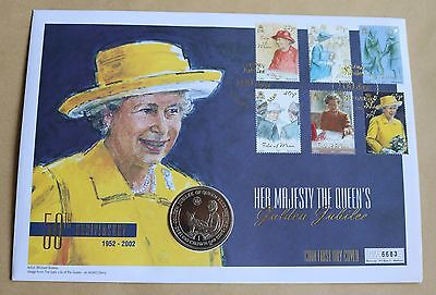 Queen's Golden Jubilee 2002 Isle Of Man Fdc + 2002 Isle Of Man Crown Coin Unc