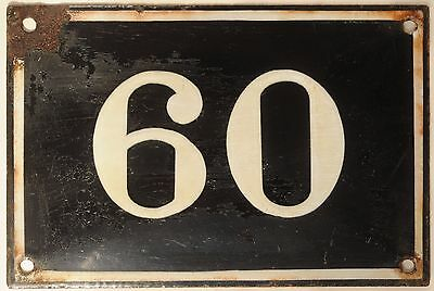 Large old black French house number 60 door gate plate plaque enamel metal sign