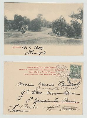 Straits Settlements Old Postcard Singapore To France 1907 !!
